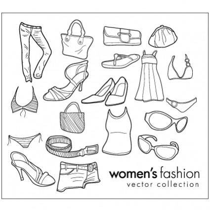 Women wear clothing line drawing vector goods