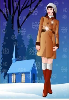 free vector Vector 7 in winter women