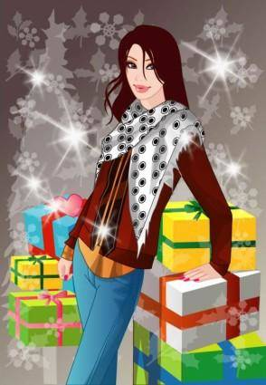 free vector Winter 10 women vector