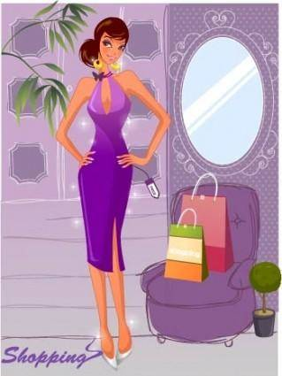 free vector Fashion women shopping 10