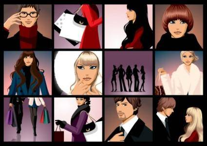Closeup of men and women vector fashion
