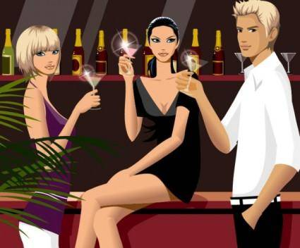free vector Drinking men and women vector fashion