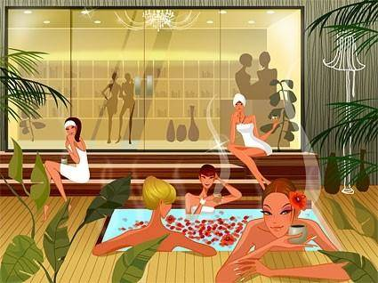 Fashion women vector in the spa