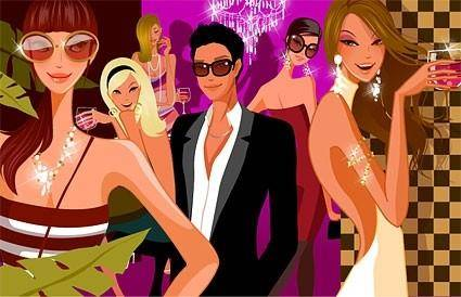 free vector Party attractive men and women vector fashion
