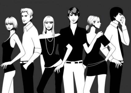 Black and white photographs of men and women vector fashion