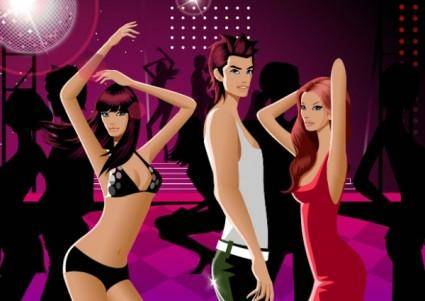 free vector Dancing men and women vector fashion