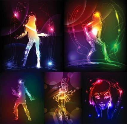 The effect of light graffiti painted women vector