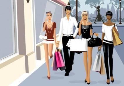 free vector Men and women vector fashion shopping