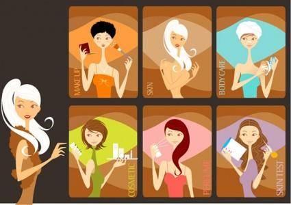 free vector Fashion women vector makeup