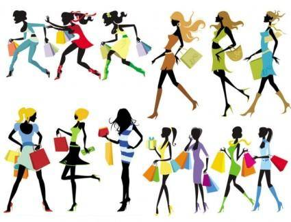 free vector Fashion shopping girl vector