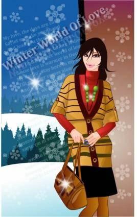 free vector 9 vector winter women