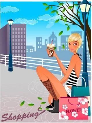 free vector Fashion women shopping 18