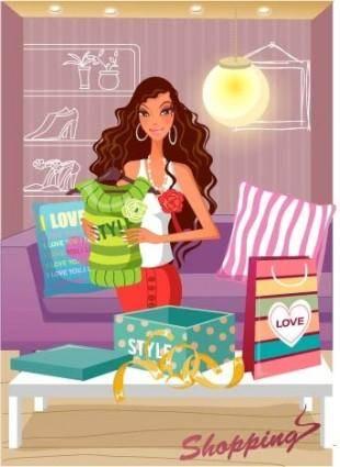 free vector Fashion women vector 22 shopping