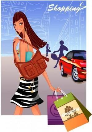 free vector Fashion women shopping 6
