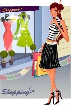 free vector Fashion women shopping 14
