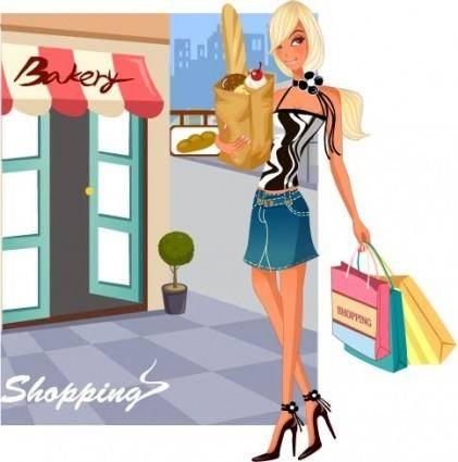 free vector Fashion women shopping 15
