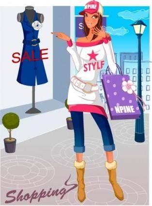 free vector Fashion women shopping 17