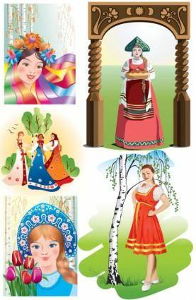 free vector Russian national girls vector