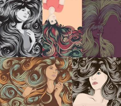 free vector The complexity of women hair cool vector