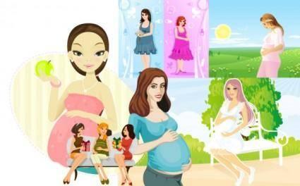 Seven pregnant women vector