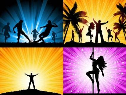 free vector Beautiful people silhouette vector