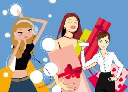 free vector 3 women vector