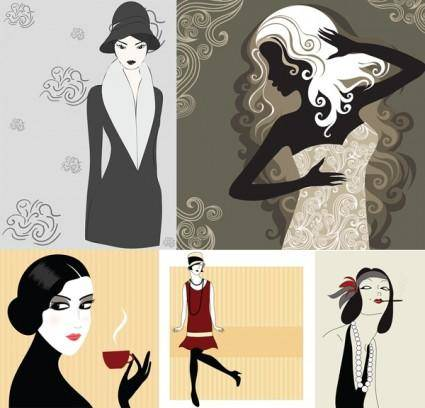 free vector 5 woman vector illustration