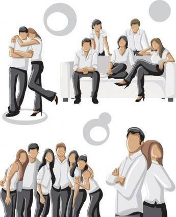 Photo of young men and women vector 3