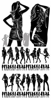 Beautiful girl black and white silhouette vector
