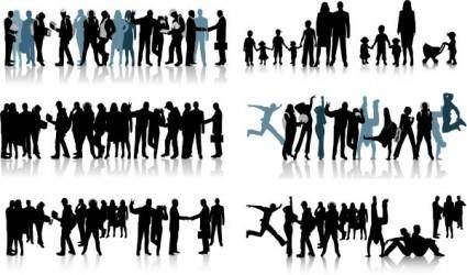 free vector All kinds of people black and white silhouette vector