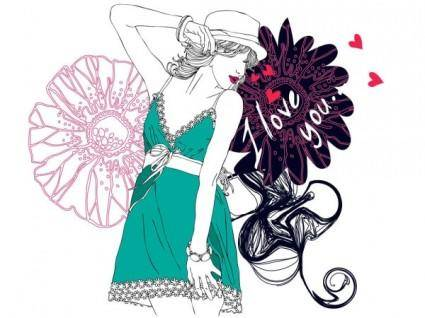free vector Fashion beauty vector