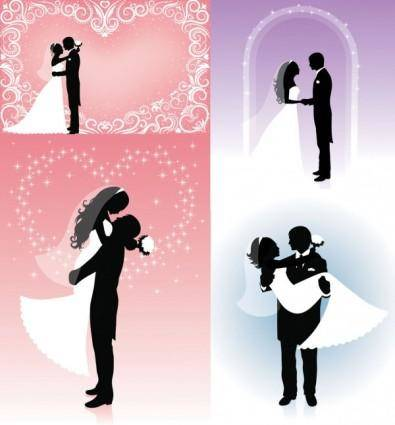 People wedding silhouette vector