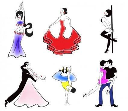 free vector People dancing silhouette 01 vector
