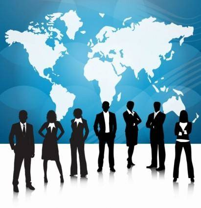 free vector Business People Team With World Map