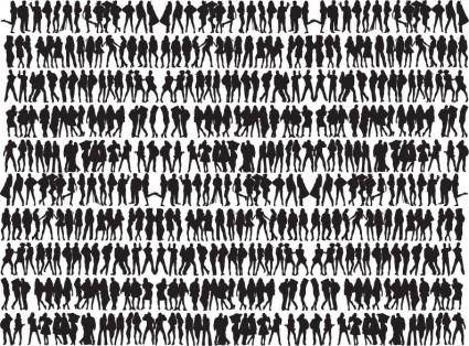 Free Big Collection of People Silhouettes Vector Graphic