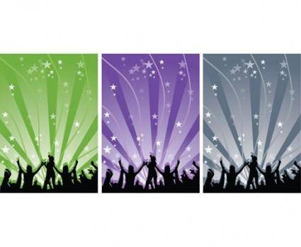 free vector Happy People Dancing Vector Silhouettes