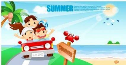 free vector Cartoon boys and girls seaside resort Vector Graphics