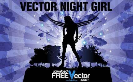 free vector Vector Night Girl