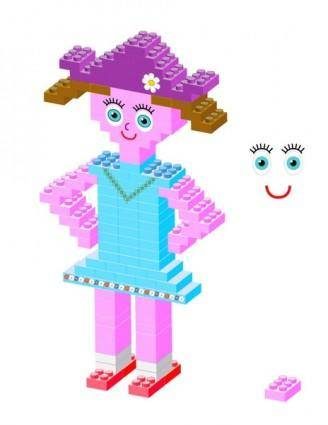 free vector Plastic bricks Girl