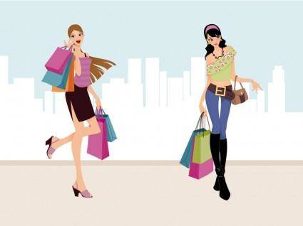 free vector Fashion Shopping Girls Vector Art