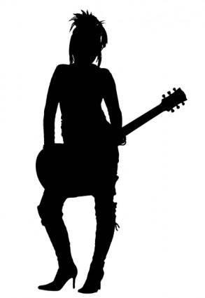 free vector Girl Rocker Silhouette