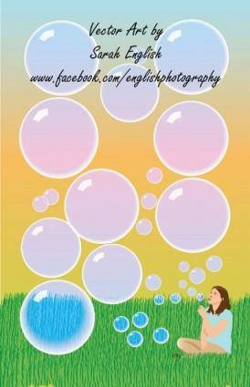 free vector Girl Blowing Bubbles