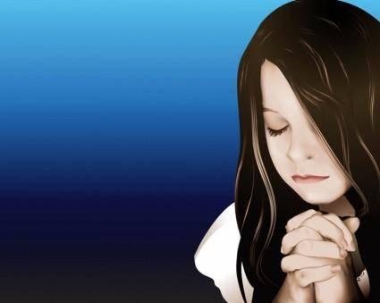 free vector Praying Girl