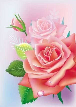 free vector Beautiful roses 02 vector