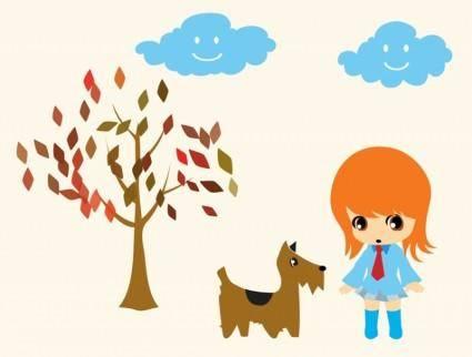 free vector Dog Walking Girl