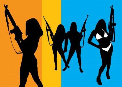 free vector Girls with Guns