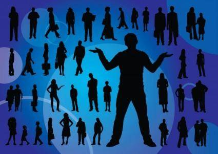 free vector Everyday People Silhouettes