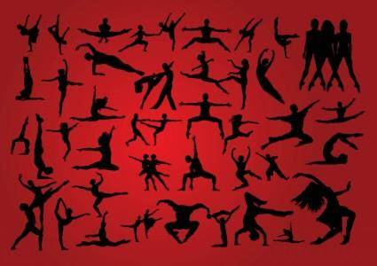 free vector People Dancing Silhouettes