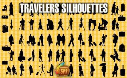 free vector Traveling People Silhouettes