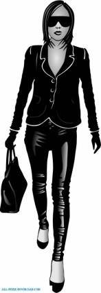free vector Girl In Black Vector